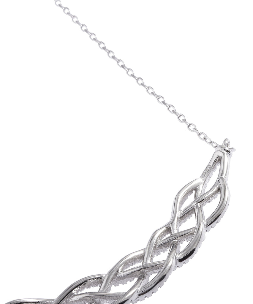 Real 925 Sterling Silver Interwoven Design 18 Inch Necklace
