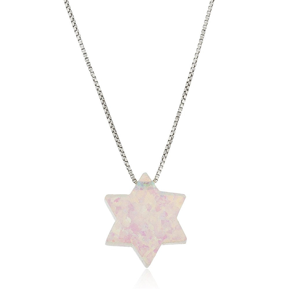 Real 925 Sterling Silver Ivory Created Opal Star Of David Pendant With A 16 Inch Link Necklace