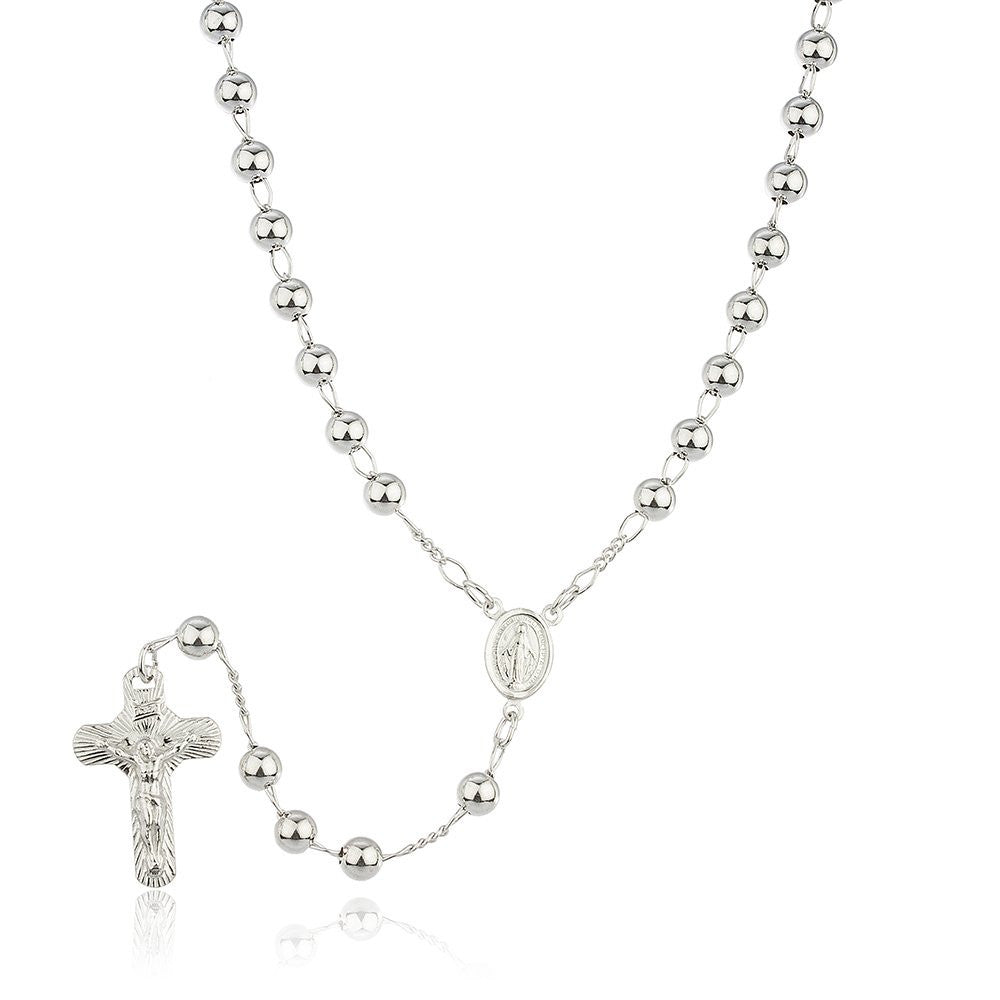 Real 925 Sterling Silver Jesus Cross And Mother Mary Charm With A 24 Inch 6mm Beaded Rosary Necklace
