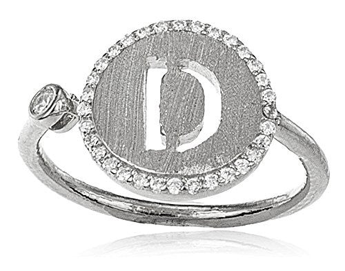 Real 925 Sterling Silver Letters Of The Alphabet With Cz Stones Adjustable Ring (D Silver)