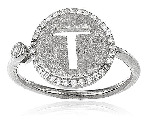 Real 925 Sterling Silver Letters Of The Alphabet With Cz Stones Adjustable Ring (T Silver)