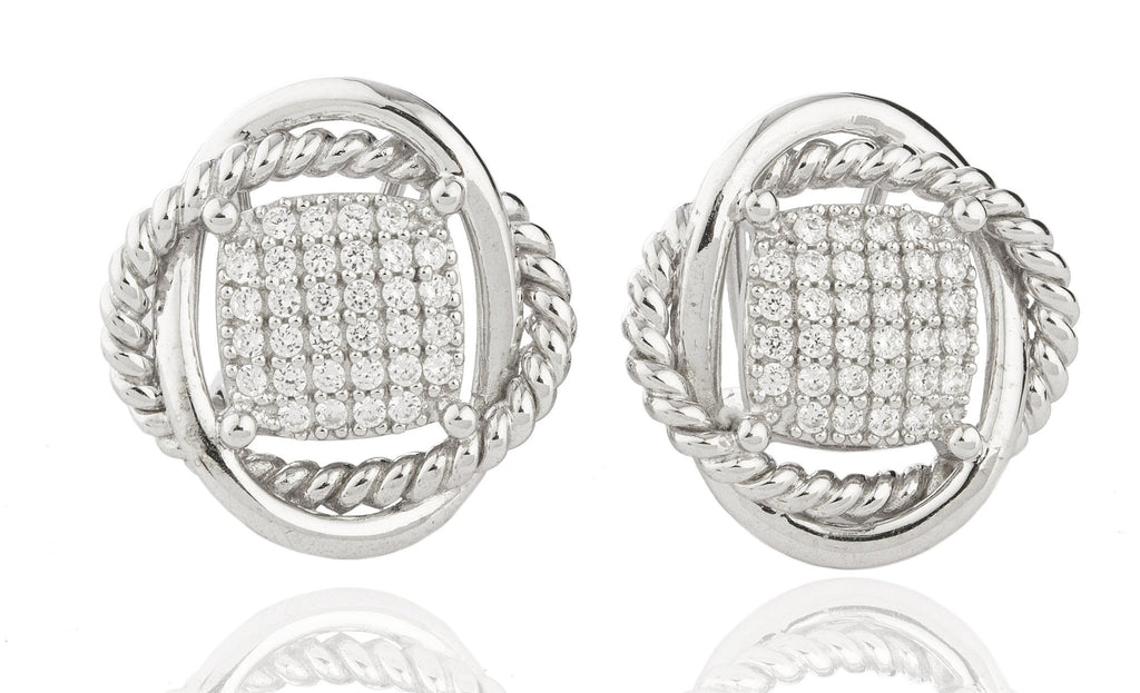 Real 925 Sterling Silver Micro Pave Cubic Zirconia Swirl Shaped Earrings