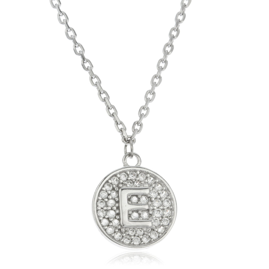 Real 925 Sterling Silver Micro Pave CZ Initial Pendant With A 16 Inch Necklace (E)