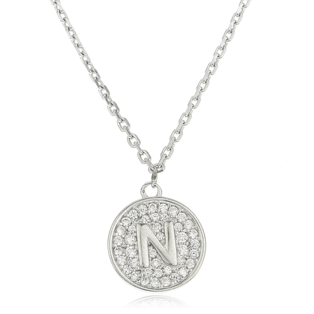 Real 925 Sterling Silver Micro Pave CZ Initial Pendant With A 16 Inch Necklace (N)