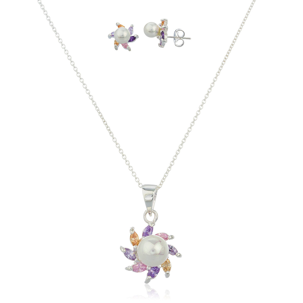 Real 925 Sterling Silver Multicolor Cz And Simulated Pearl Starfish Earrings And Pendant With An 18 Inch Necklace