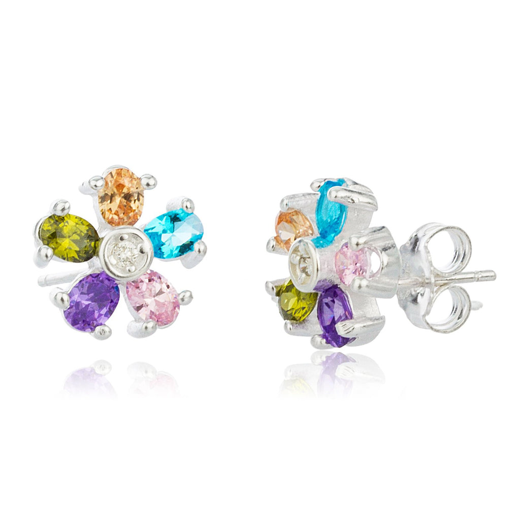 Real 925 Sterling Silver Multicolor Cz Flower Earrings And Pendant With An 18 Inch Necklace