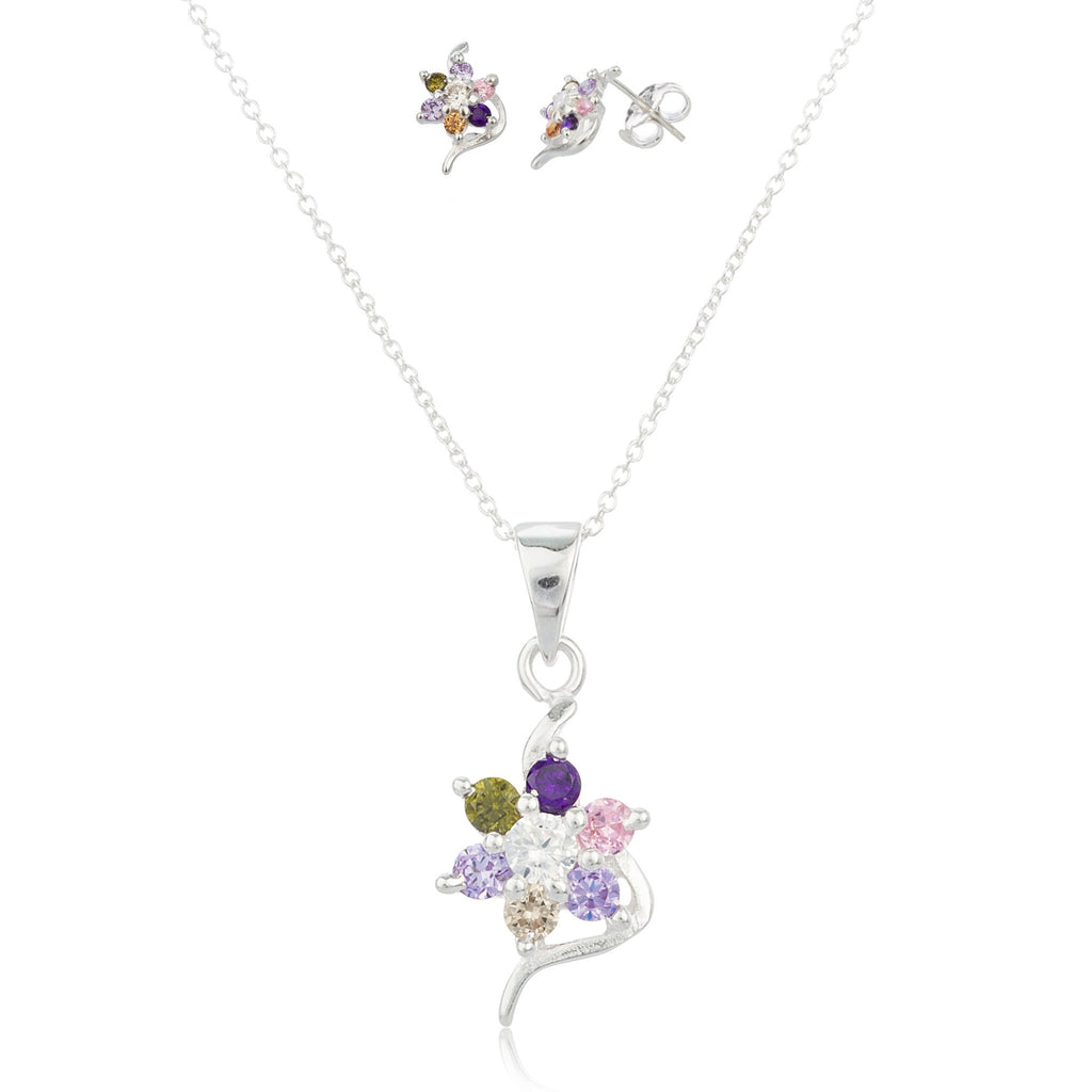 Real 925 Sterling Silver Multicolor Cz Flower Shape Earrings And Pendant With An 18 Inch Necklace