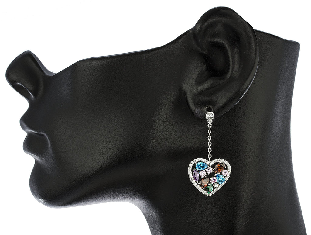 Real 925 Sterling Silver Multicolor Heart Dangling Earrings With Cubic Zacornia Stones