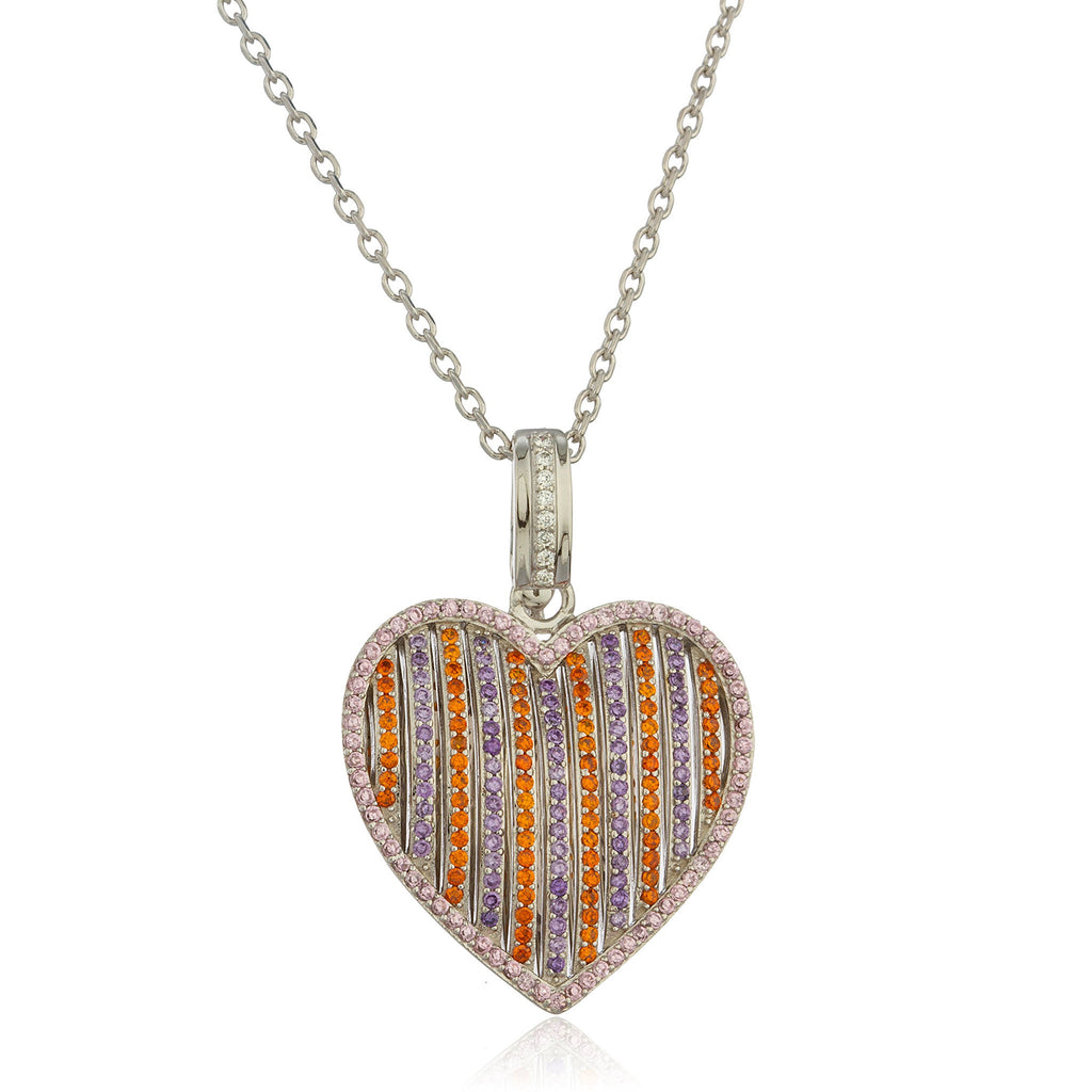 Real 925 Sterling Silver Multicolor Heart Pendant With Cubic Zirconia Stones And An 18 Inch Link Necklace
