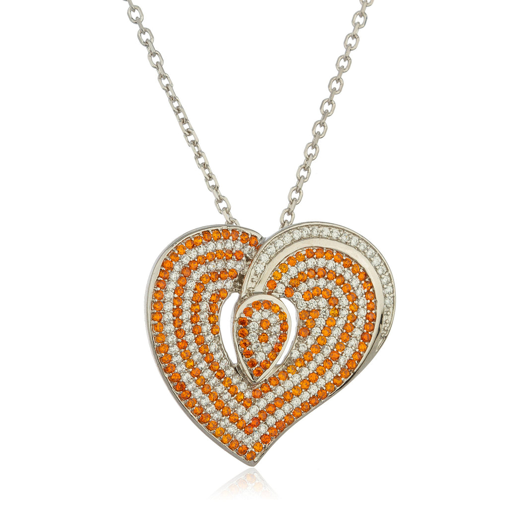 Real 925 Sterling Silver Orange Stone Heart Pendant With Cubic Zirconia Stones And An 18 Inch Link Necklace