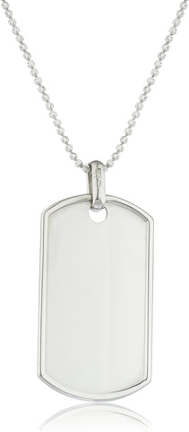 Real 925 Sterling Silver Outlined Dog Tag With 2mm Moon Cut Chain (Large With 24 Inches)