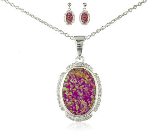 Real 925 Sterling Silver Oval Created Opal Necklace With Cz Stones And Matching Stud Earrings Jewelry Set (Pink)