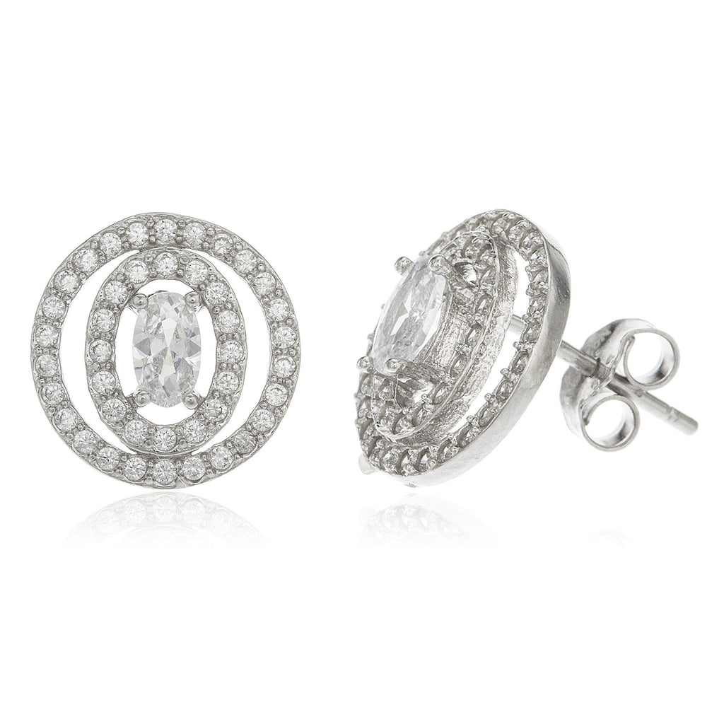 Real 925 Sterling Silver Oval Double Layer With Clear Cz Stones 12mm Stud Earrings