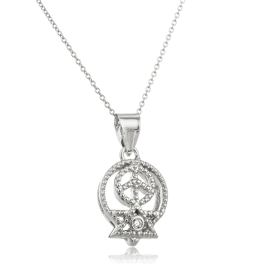 Real 925 Sterling Silver 'Peace In The Middle East' Pendant With Cz Stones And An 18 Inch Link Necklace
