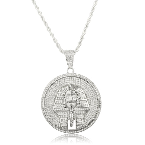 Real 925 Sterling Silver Pharaoh Disc Pendant With Cz Stones And A 30 Inch Brass Rope Necklace