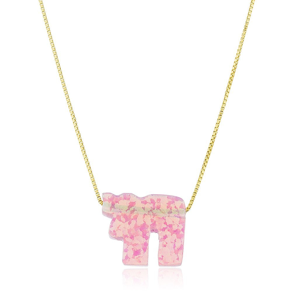 Real 925 Sterling Silver Pink Created Opal Chai Pendant With A 16 Inch Link Necklace