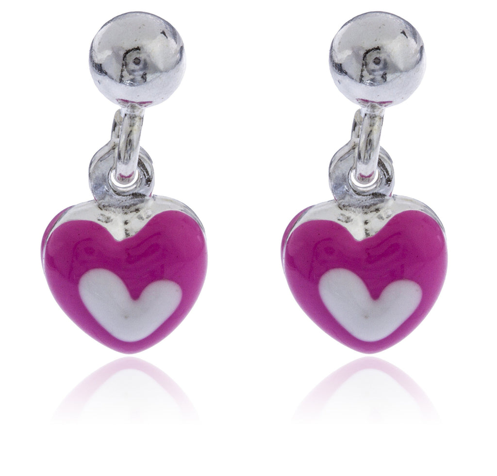 Real 925 Sterling Silver Pink With White Heart Stud Earrings