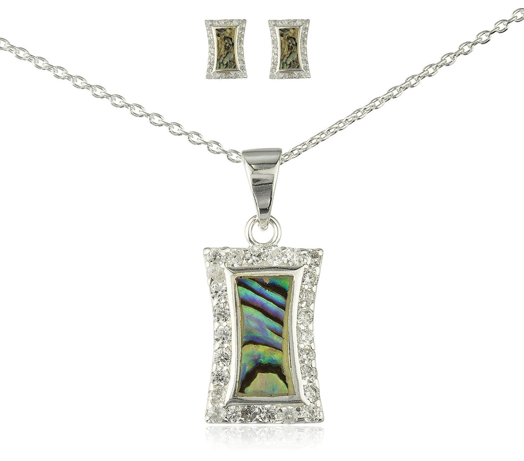 Real 925 Sterling Silver Rectangular Created Opal Necklace With Matching Earrings Jewelry Set (Splash)