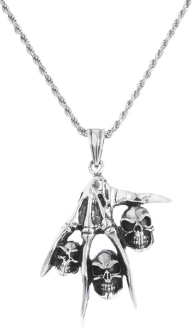 Real 925 Sterling Silver Rhodium Plated Hand And Skull Pendant With A 24 Inch Rope Chain