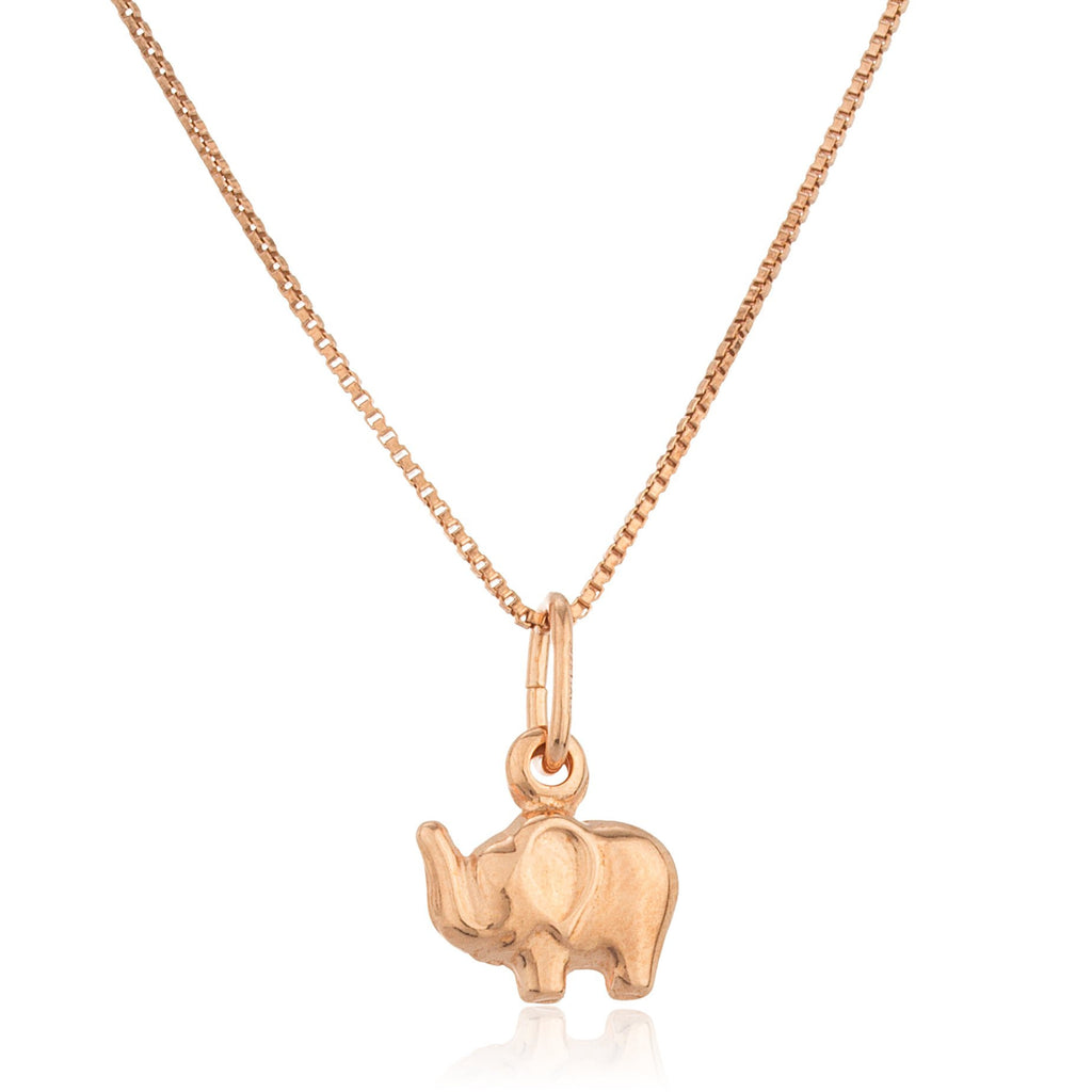 Real 925 Sterling Silver Rose Gold Elephant Pendant With An 18 Inch Box Necklace