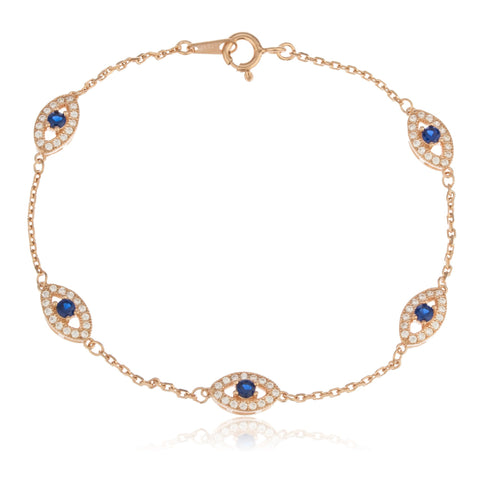 Real 925 Sterling Silver Rose-goldtone With Deep Blue Evil Eye Cz Charmed 7 Inch Bracelet