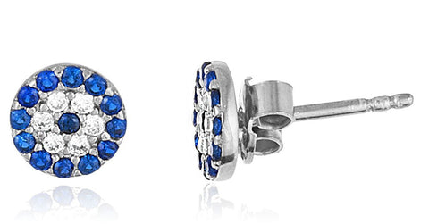 Real 925 Sterling Silver Round 7mm Evil Eye Cz Stud Earrings