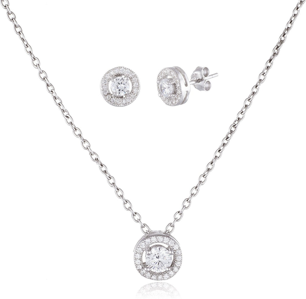 Real 925 Sterling Silver Round Earrings With Matching Pendant Necklace