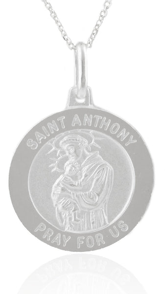 Real 925 Sterling Silver Saint Anthony Pray For Us Circle Pendant With An 18 Inch Link Necklace
