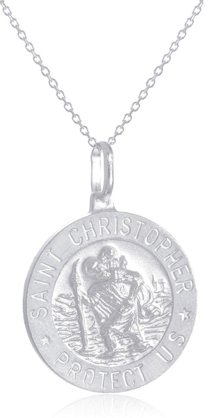 Real 925 Sterling Silver Saint Christopher Protect Us Round Pendant With An 18 Inch Link Necklace - Available In Small, Medium And Large Size Pendant (Large)