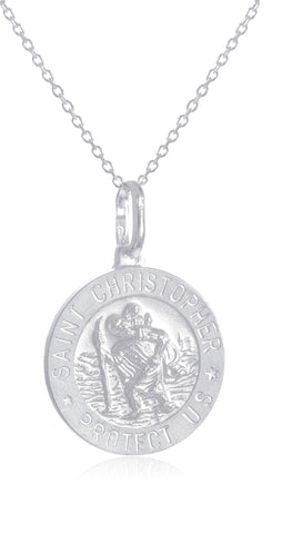 Real 925 Sterling Silver Saint Christopher Protect Us Round Pendant With An 18 Inch Link Necklace - Available In Small, Medium And Large Size Pendant (Small)