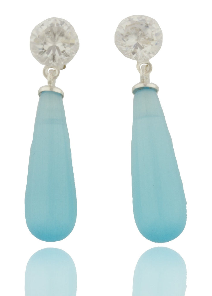 Real 925 Sterling Silver Short Chandelier Style Drop Earrings With Clear Stones (Aqua Blue)