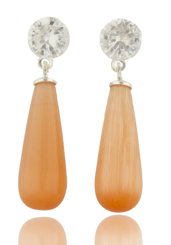 Real 925 Sterling Silver Short Chandelier Style Drop Earrings With Clear Stones (Peach)