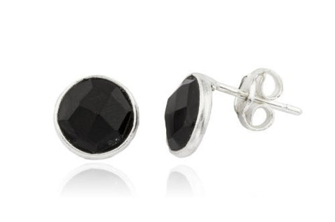 Real 925 Sterling Silver Simulated Onyx Round Stone Earrings