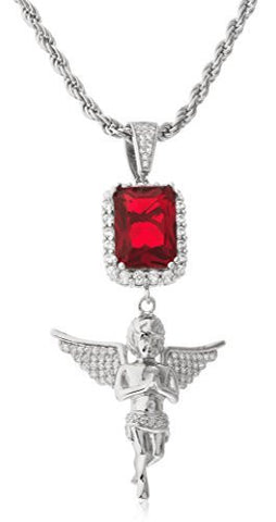 Real 925 Sterling Silver Simulated Red Gemstone With Angel Pendant And A 3mm 24 Inch Rope Chain (rhodium-plated-silver)