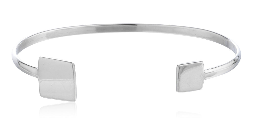 Real 925 Sterling Silver Square And Mini Squarle Ends Adjustable Cuff Bangle Bracelet