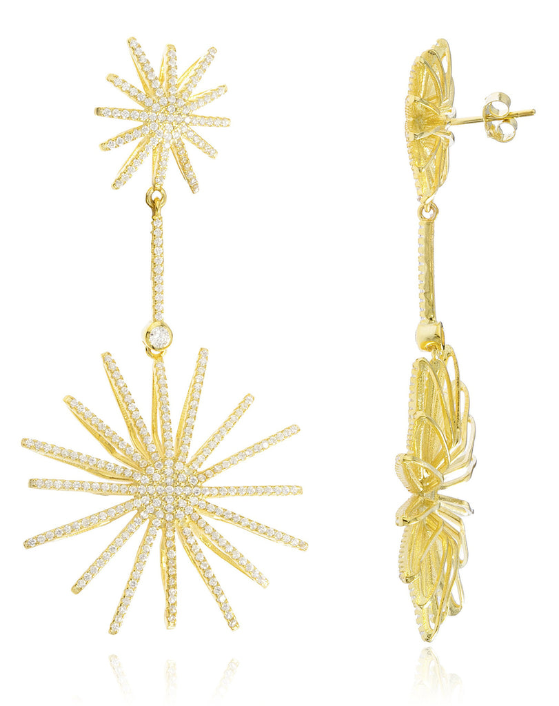 Real 925 Sterling Silver Starburst Dangle Earrings - Available In 3 Colors (Yellow-Gold)