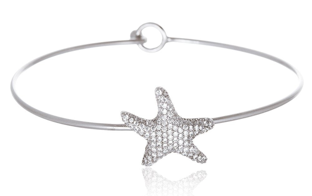 Real 925 Sterling Silver Starfish With Cz Stones Hook Bangle Bracelet