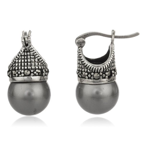Real 925 Sterling Silver Swiss Marcasite Lady Di Style Earrings With Cz And Silver Simulated Pearl
