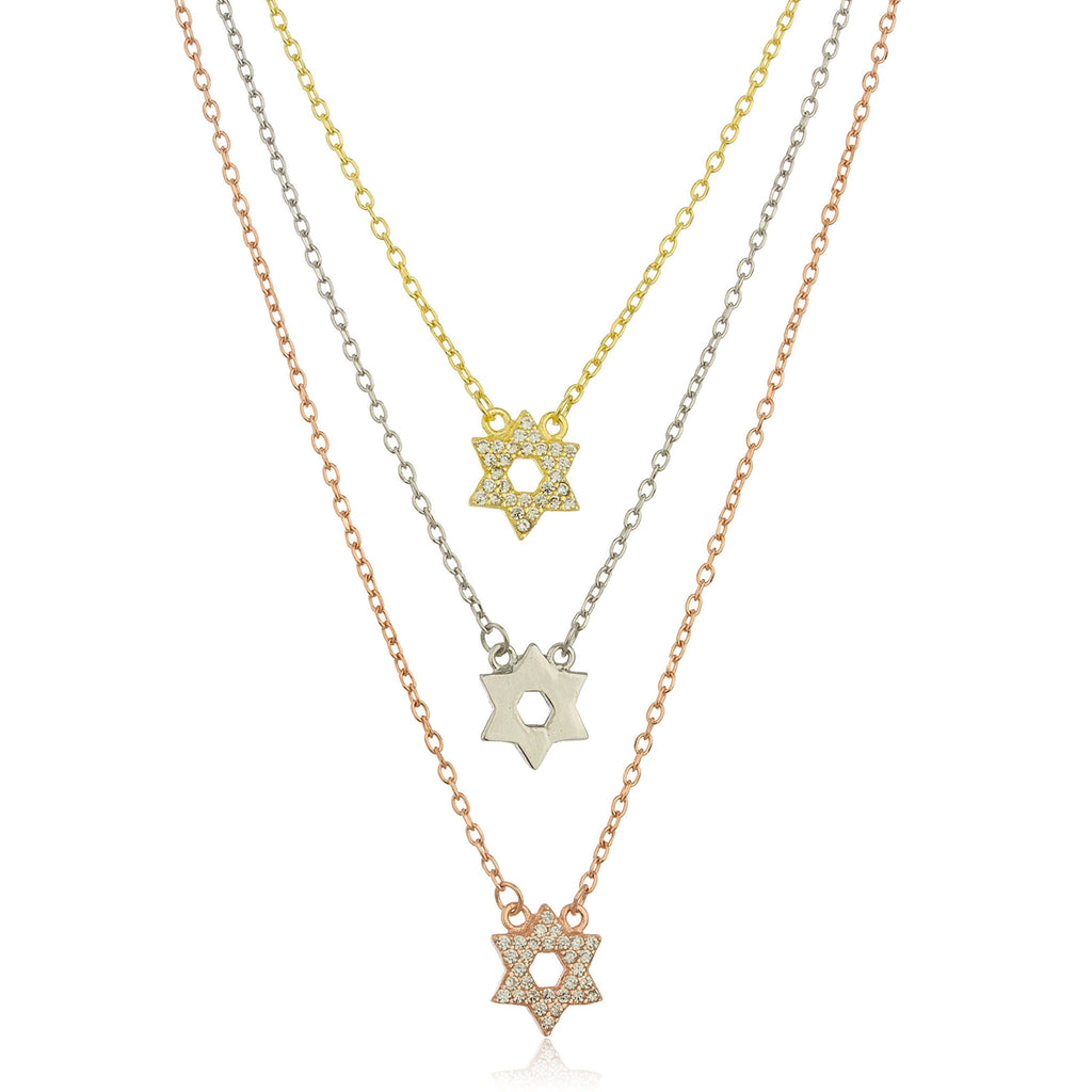 Real 925 Sterling Silver Tri Color Star Of David Layered Link Necklace With Cubic Zirconia