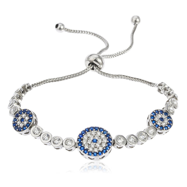 Real 925 Sterling Silver Triple Circle Eye Bezel Cubic Zirconia Adjustable 4-8 Inch Bracelet