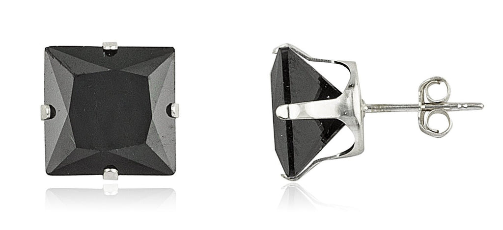 Real 925 Sterling Silver With Black Square Cubic Zirconia Four Prong Stud Earrings (9 Millimeters)