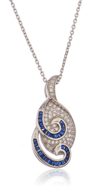 Real 925 Sterling Silver With Blue And Silver Cubic Zirconia Swirl Teardrop Pendant With An 18 Inch Link Necklace