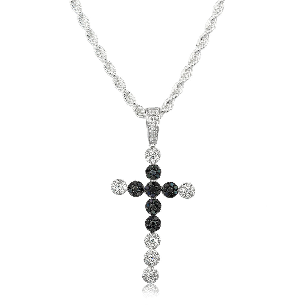 Real 925 Sterling Silver With Clear Cubic Zirconia Stones Sunflower Cluster Cross Style Pendant (Silver/Black)