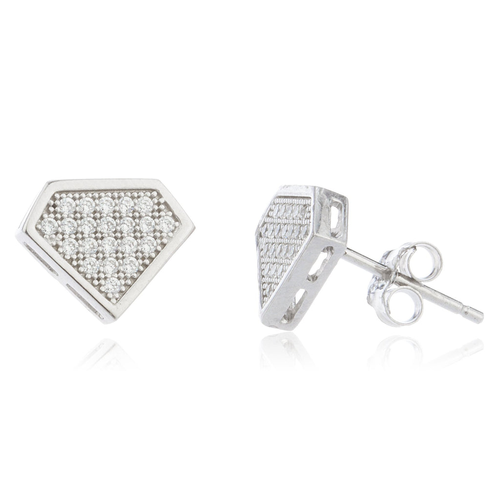 Real 925 Sterling Silver With Clear Cz Stones Diamond Shape 10 Mm Hollow Style Boxed Stud Earrings