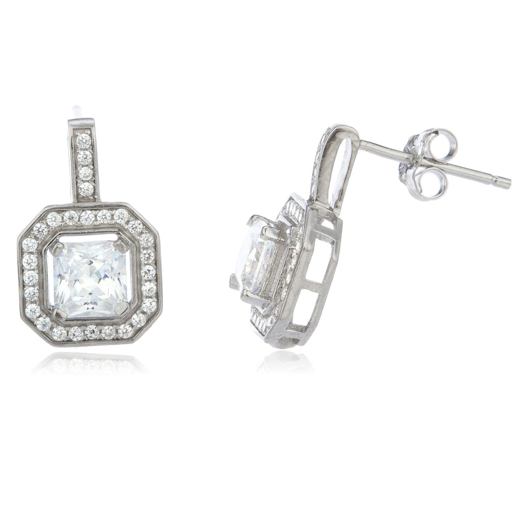 Real 925 Sterling Silver With Cz 10mm Stud Earrings