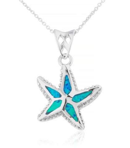 Silver Necklace - 925 Sterling Silver Created Opal Starfish Pendant With 18 Inch Necklace