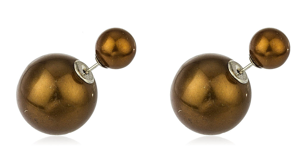 Sterling Silver 360 Simulated Pearl Double Sided Stud Earrings (Brown/Silvertone)