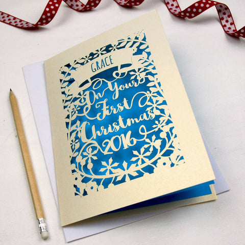Personalised 'First Christmas' Papercut Card - A5 / Cream / Peacock Blue