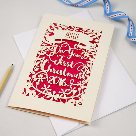 Personalised 'First Christmas' Papercut Card - A5 / Cream / Shocking Pink