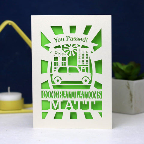 Personalised Papercut Driving Test Pass Card - A6 (small) / Bright Green